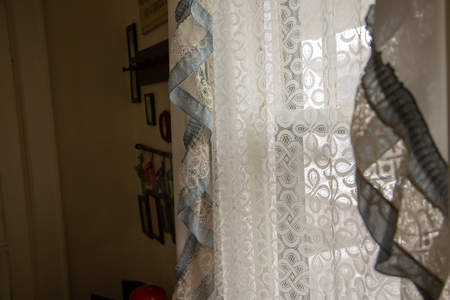 Country home window drapes interior