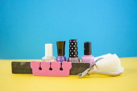 Colorful manicure and pedicure nail tools and accessories Banco de Imagens