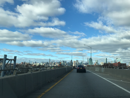 Beautiful New York City skyline from car view