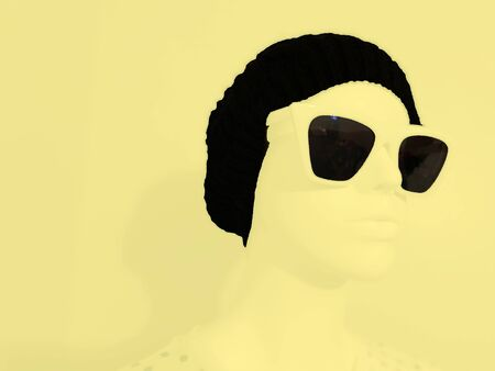 Mannequin wearing a hat and sunglasses on a modern realistic pop art style setting. Imagens - 140589738