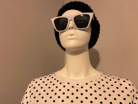 Transgender mannequin with modern, hip hat, sunglasses, and shirt. Imagens - 145686322