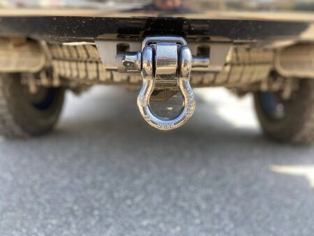 Undercarriage of a truck's trailer hitch. Imagens - 146643252
