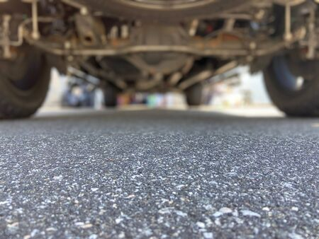Undercarriage of a truck with selective focus Imagens - 146642703