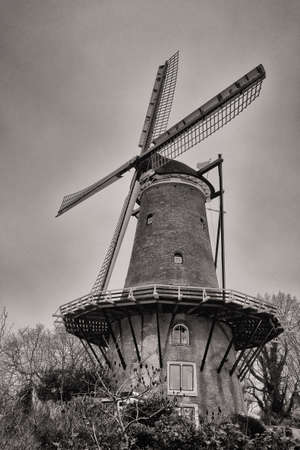 Old windmill in black and white