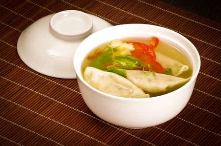 sapid: Dumplings soup Stock Photo