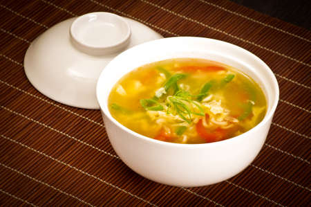 sapid: Chinese vegetable soup Stock Photo