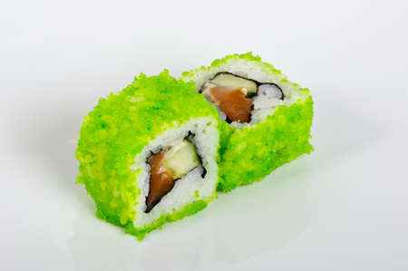 Green caviar sushi rolls photo