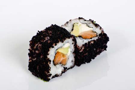 Black caviar sushi rolls photo