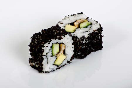 Avocado maki rolls with black sesam seeds photo