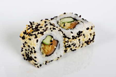 Tuna maki rolls with  sesame seeds photo