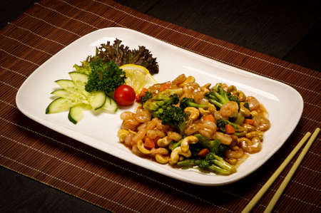 sea food: Sea food and nuts stew Stock Photo