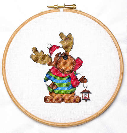 Cross-stitching pattern in the hoop Stock Photo