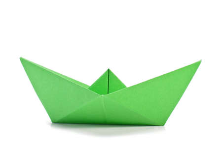 Green origami ship  side  Stock Photo