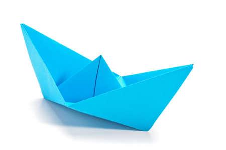 Blue origami ship Stock Photo