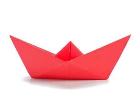 Red origami ship  side  Stock Photo