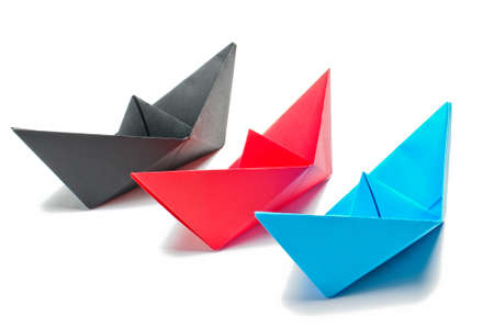 3 origami ships Stock Photo