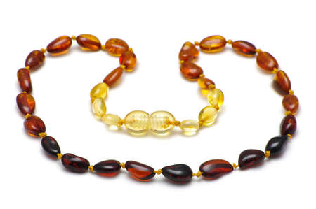 Baltic amber baby necklace, rainbow model Stock Photo