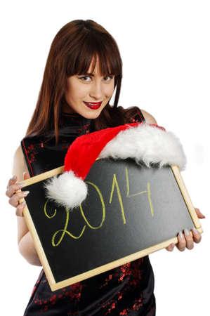 sexy secretary: Sexy secretary with Happy New Year 2014 sign