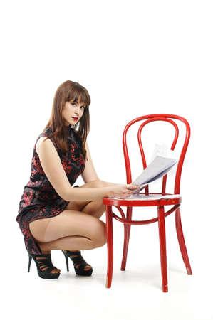 provocative woman: Sexy secretary