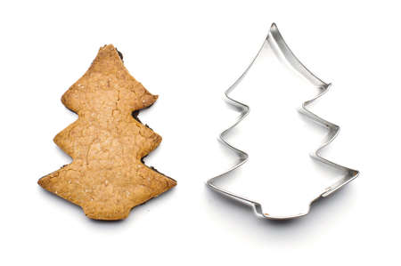 Christmas tree shape biscuit and tin form for baking photo