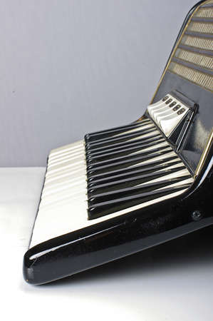 Accordion keyboard low angle vertical photo