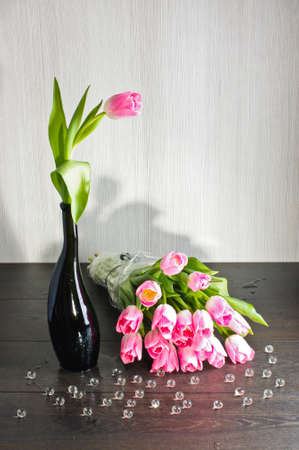 matherday: Pink tulips with glass bubbles Stock Photo
