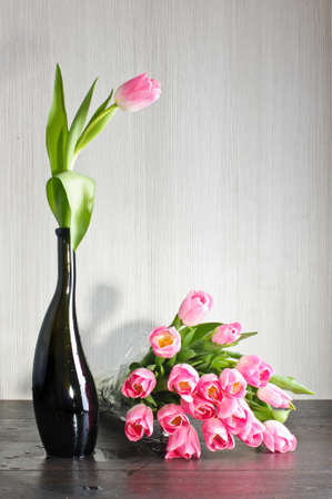 Tulips bouquet on the table Stock Photo