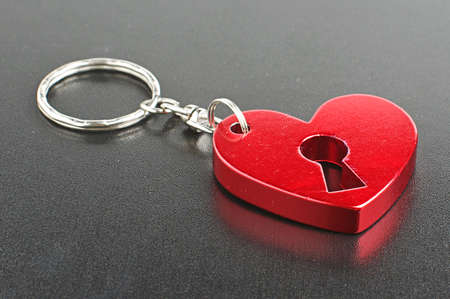 fob: Valentine day present red heart shape fob Stock Photo