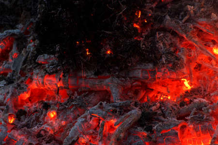 Hot coal after fire abstract photo