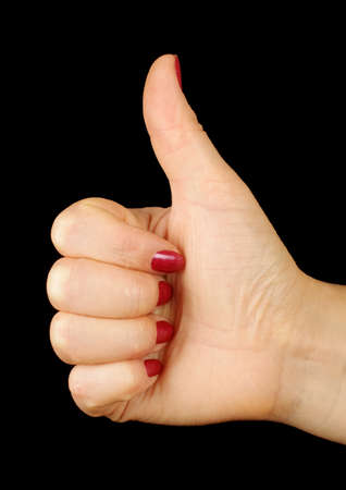 non verbal communication: Female hand showing like sign