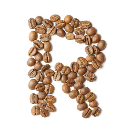 Letter R arranged from coffee beans isolated