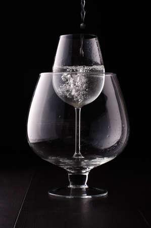 Smaller wine glass in the bigger one Stock Photo - 30540377