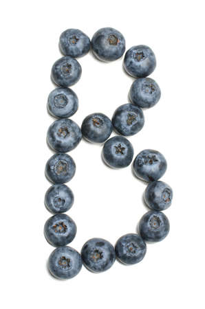 learning series: Alphabet letter b arranged from northern highbush blueberry isolated