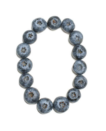 learning series: Alphabet letter o arranged from northern highbush blueberry isolated
