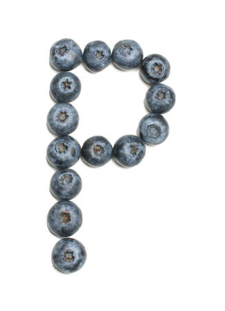 Alphabet letter p arranged from northern highbush blueberry isolated photo