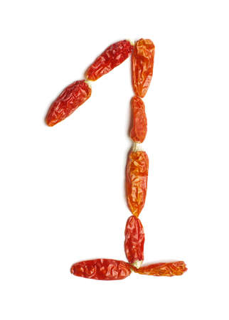 1: Number 1 arranged from chili peppers isolated Stock Photo