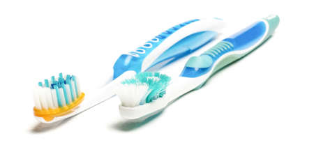 fluoride: Old and new toothbrush isolated on the white background Stock Photo