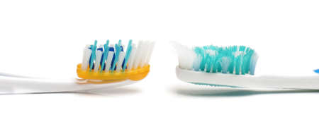 Used and new toothbrush bristles photo