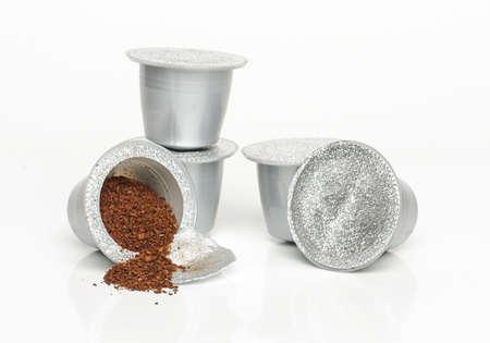 Italian espresso coffee capsules isolated