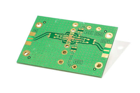 RF amplifier PCB isolated on the white background Stok Fotoğraf