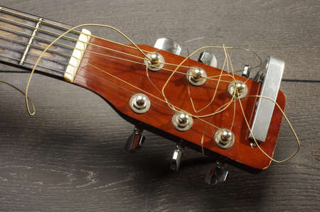pegheads: Close up of guitar head with tuning pegheads