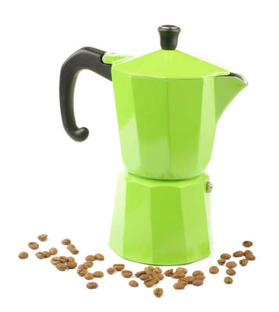 Green coffee preparation pot product shot photo