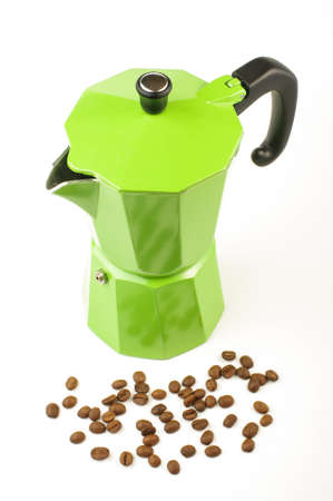 Moka coffee pot isolated on the bright background photo