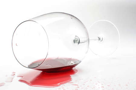 Red wine glass with red wine