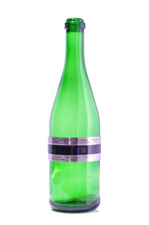 Wine thermometer on green sparkling wine bottle with clipping path photo