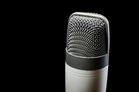 condenser: Professional condenser microphone with copy space