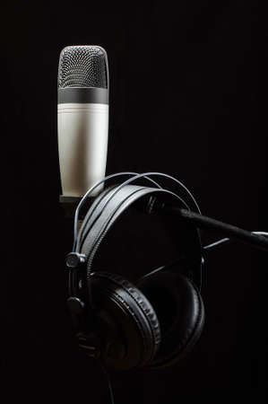 electronic background: Professional audio recording equipment isolated Stock Photo