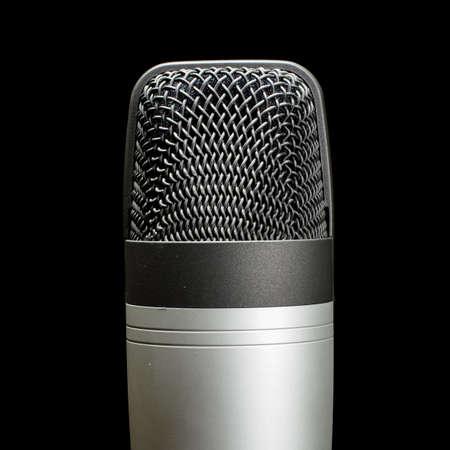 cardioid: Micr�fono de condensador de estudio Record aislado cerca de Foto de archivo