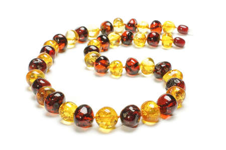 round collar: Original amber necklace isolated on the white background