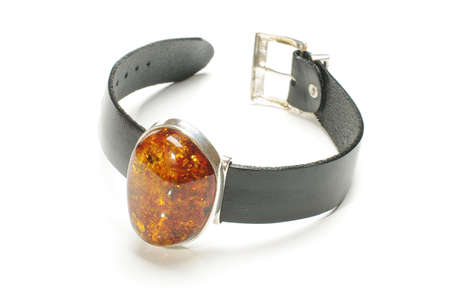 armlet: Natural amber armlet isolated Stock Photo